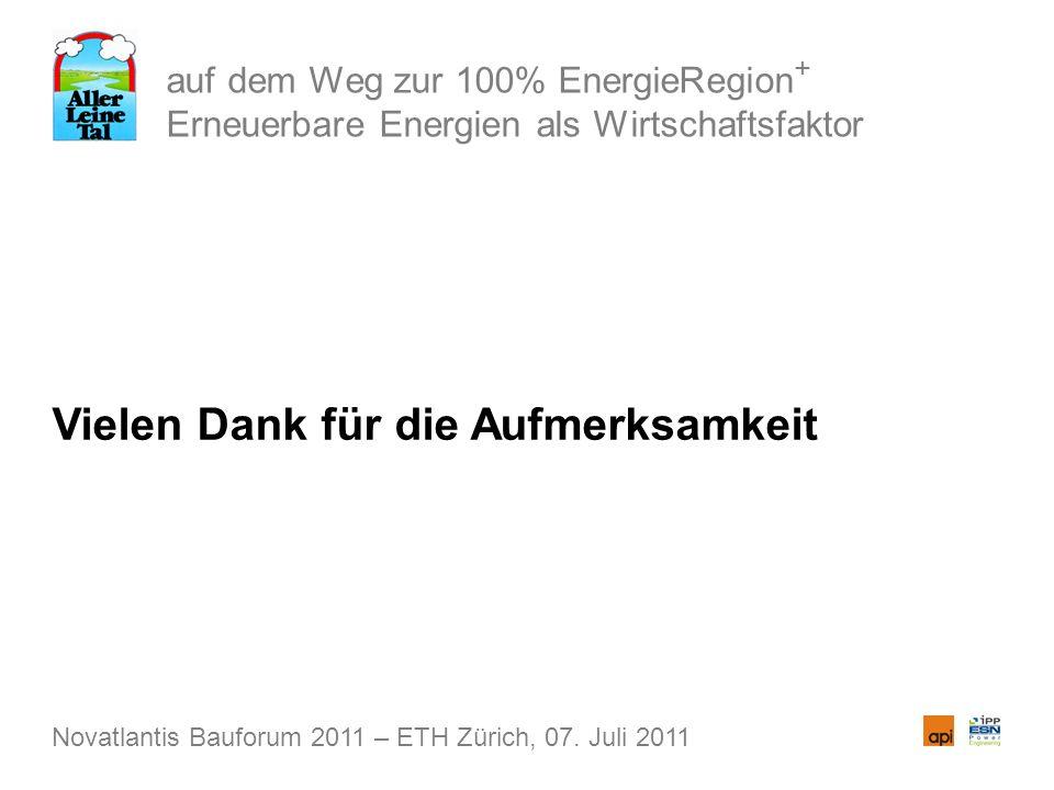 auf dem Weg zur 100% EnergieRegion + Erneuerbare Energien als Wirtschaftsfaktor Vielen Dank für die Aufmerksamkeit Novatlantis Bauforum 2011 – ETH Zür