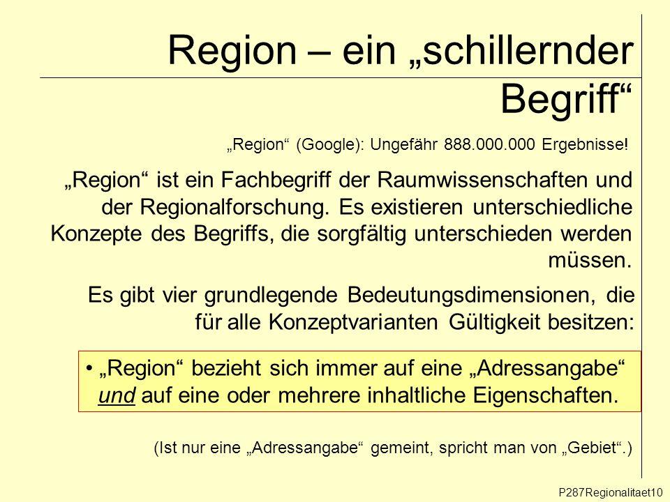 Region – ein schillernder Begriff P287Regionalitaet10 Region (Google): Ungefähr 888.000.000 Ergebnisse! Region ist ein Fachbegriff der Raumwissenschaf