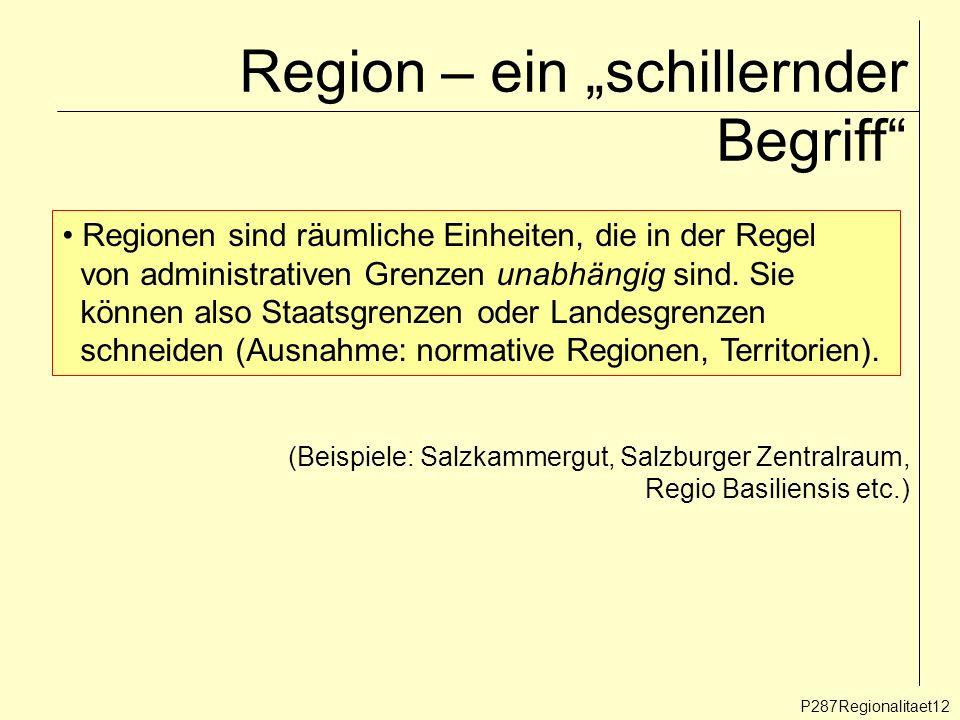 Region – ein schillernder Begriff P287Regionalitaet12 Regionen sind räumliche Einheiten, die in der Regel von administrativen Grenzen unabhängig sind.