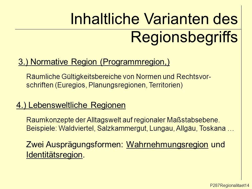 Inhaltliche Varianten des Regionsbegriffs P287Regionalitaet14 3.) Normative Region (Programmregion,) Räumliche Gültigkeitsbereiche von Normen und Rech