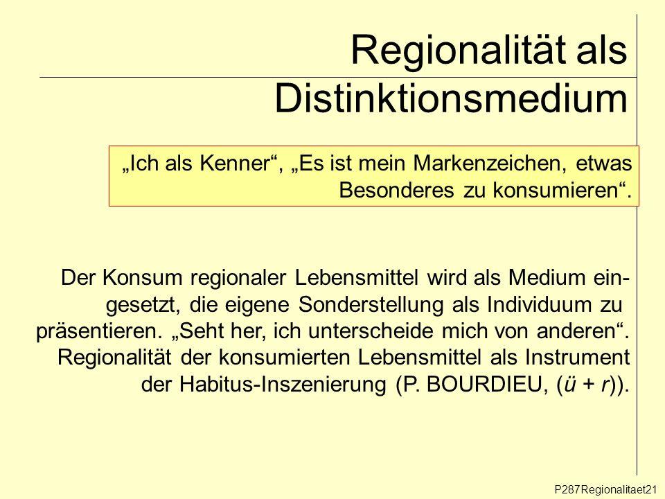Regionalität als Distinktionsmedium P287Regionalitaet21 Ich als Kenner, Es ist mein Markenzeichen, etwas Besonderes zu konsumieren. Der Konsum regiona