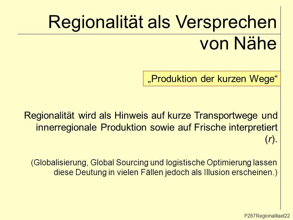 Regionalität als Versprechen von Nähe P287Regionalitaet22 Produktion der kurzen Wege Regionalität wird als Hinweis auf kurze Transportwege und innerre