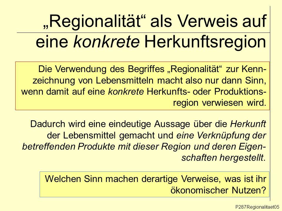 Regionalität als Verweis auf eine konkrete Herkunftsregion P287Regionalitaet05 Die Verwendung des Begriffes Regionalität zur Kenn- zeichnung von Leben