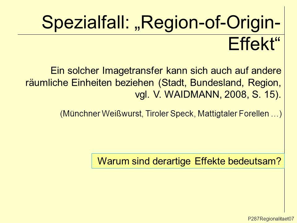 Spezialfall: Region-of-Origin- Effekt P287Regionalitaet07 Ein solcher Imagetransfer kann sich auch auf andere räumliche Einheiten beziehen (Stadt, Bun
