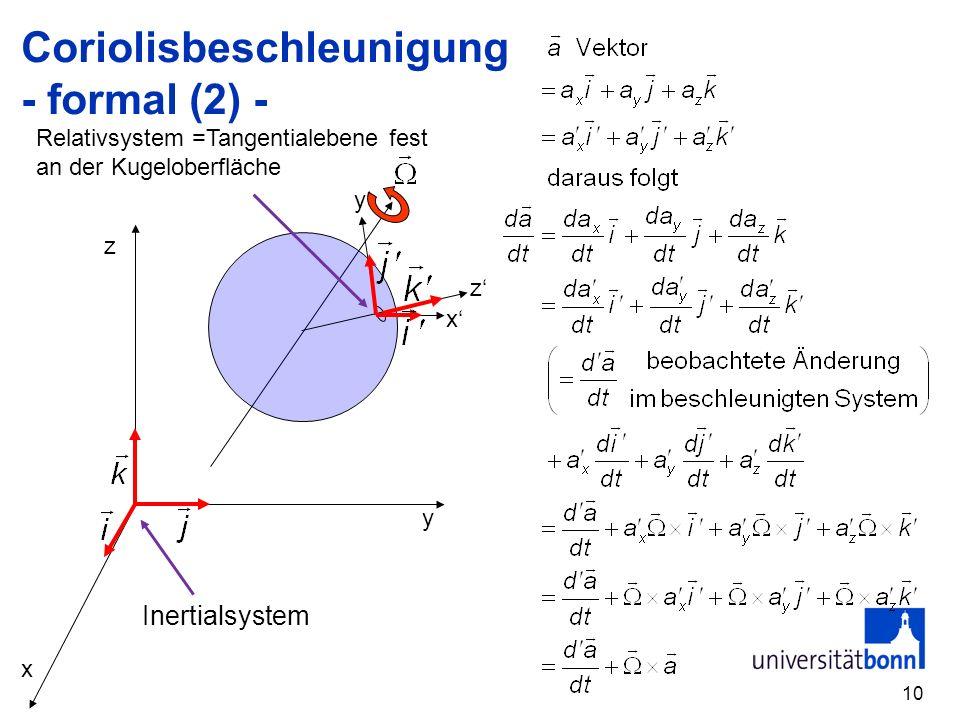 10 Coriolisbeschleunigung - formal (2) - x y z x z y Inertialsystem Relativsystem =Tangentialebene fest an der Kugeloberfläche