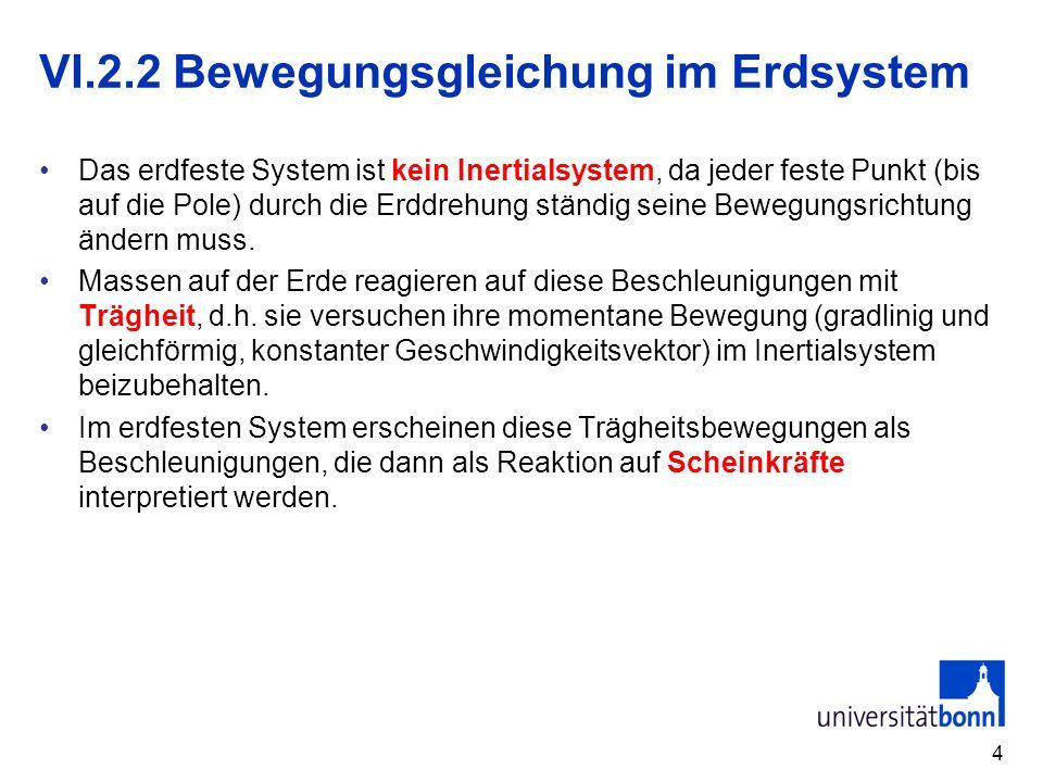 4 Das erdfeste System ist kein Inertialsystem, da jeder feste Punkt (bis auf die Pole) durch die Erddrehung ständig seine Bewegungsrichtung ändern mus