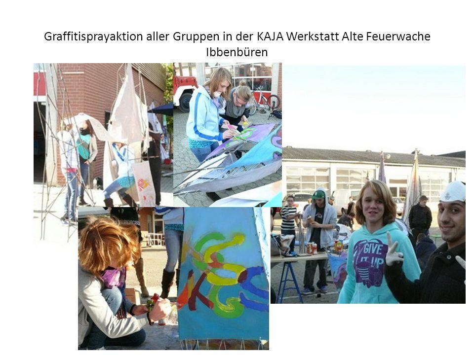 Graffitisprayaktion aller Gruppen in der KAJA Werkstatt Alte Feuerwache Ibbenbüren