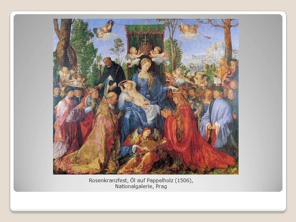 Rosenkranzfest, Öl auf Pappelholz (1506), Nationalgalerie, Prag