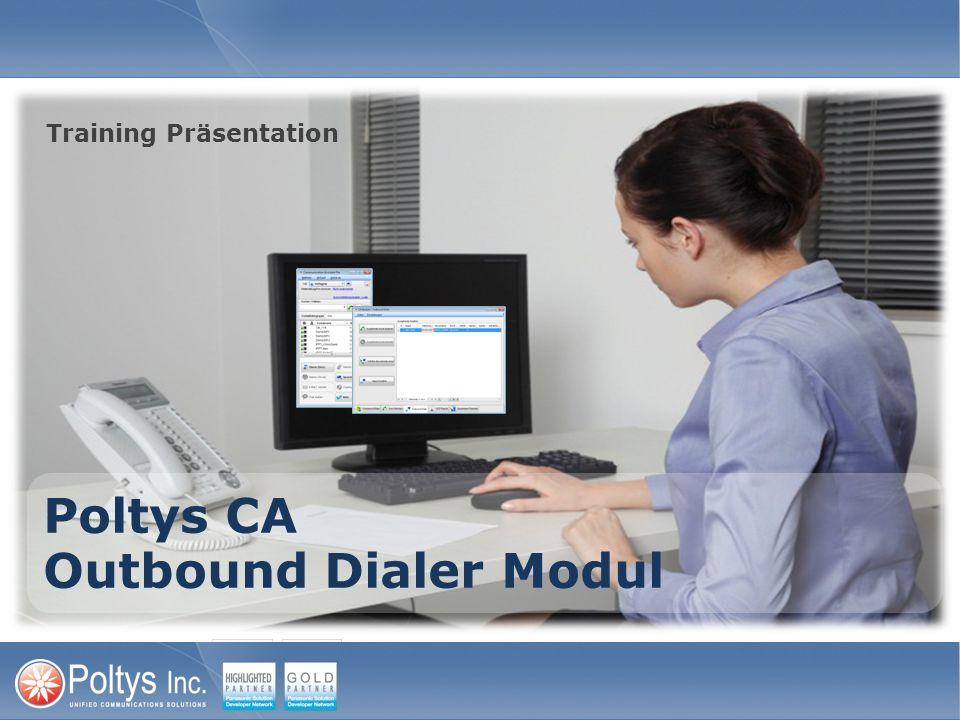 Outbound Dialer Module – Manuelle Anrufliste Outbound Dialer Module erlaubt den Agenten die Liste mit den Zielempfängern von Hand einzugeben oder sie aus einer CSV Datei (nächste Folie) zu importieren 1.