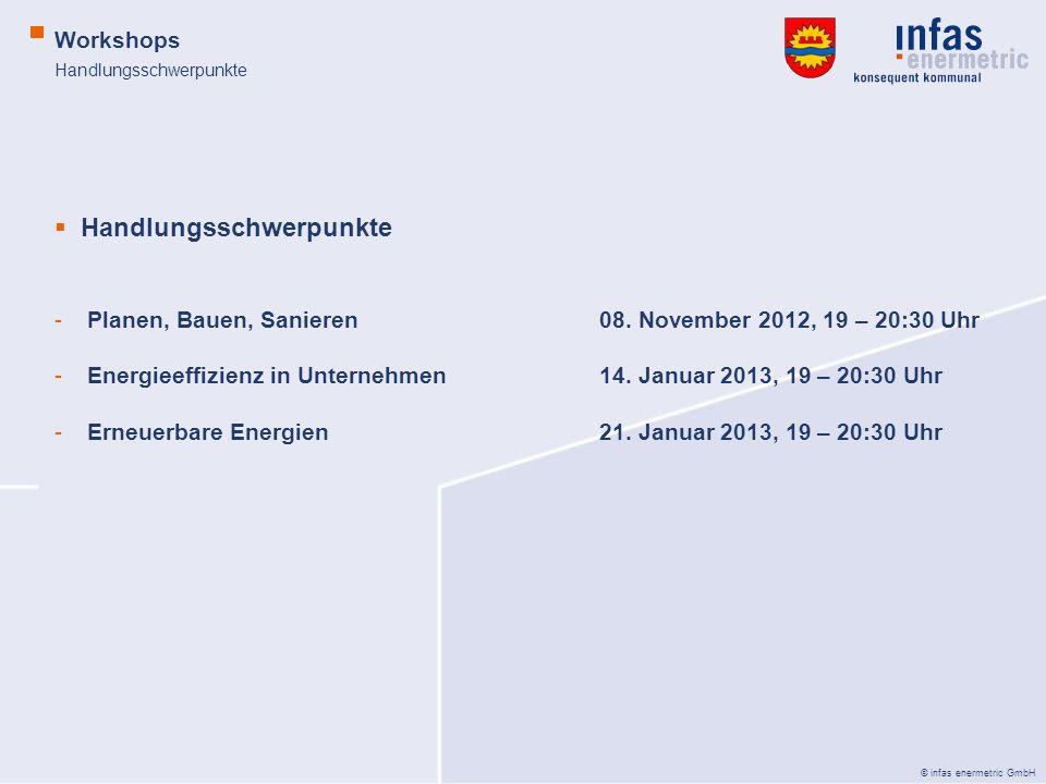 © infas enermetric GmbH Handlungsschwerpunkte Workshops Handlungsschwerpunkte -Planen, Bauen, Sanieren08. November 2012, 19 – 20:30 Uhr -Energieeffizi