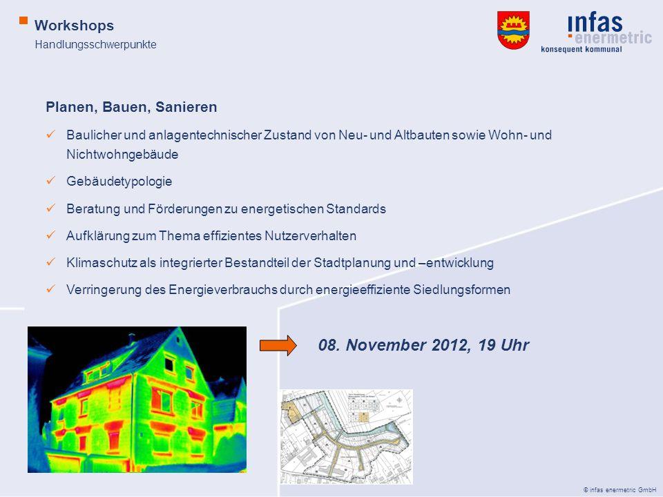 © infas enermetric GmbH Handlungsschwerpunkte Workshops Planen, Bauen, Sanieren Baulicher und anlagentechnischer Zustand von Neu- und Altbauten sowie