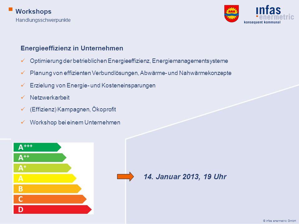 © infas enermetric GmbH Handlungsschwerpunkte Workshops Energieeffizienz in Unternehmen Optimierung der betrieblichen Energieeffizienz, Energiemanagem