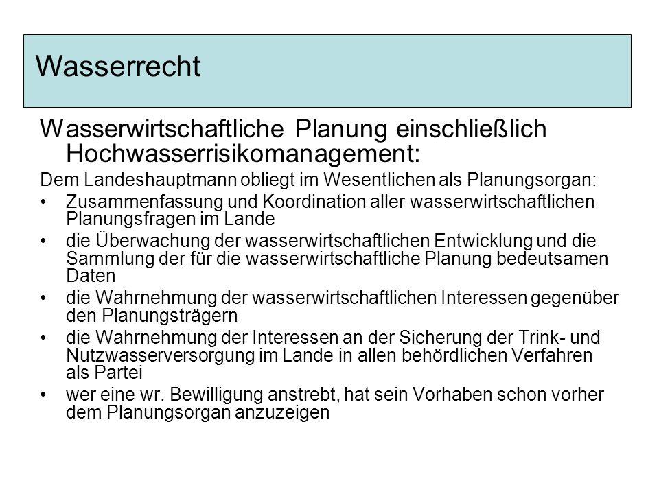 Wasserwirtschaftliche Planung einschließlich Hochwasserrisikomanagement: Dem Landeshauptmann obliegt im Wesentlichen als Planungsorgan: Zusammenfassun