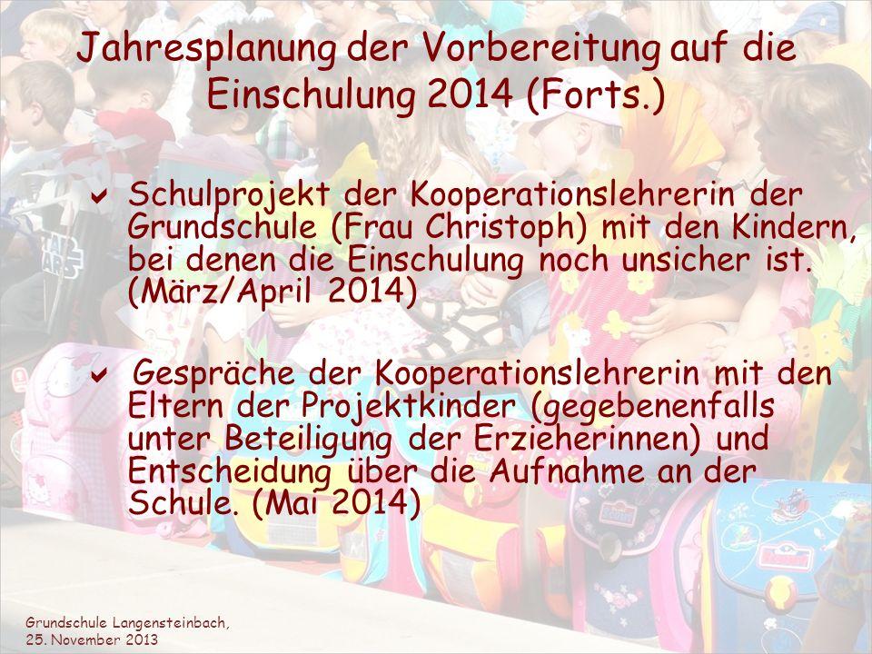Jahresplanung der Vorbereitung auf die Einschulung 2014 (Forts.) Schulprojekt der Kooperationslehrerin der Grundschule (Frau Christoph) mit den Kinder