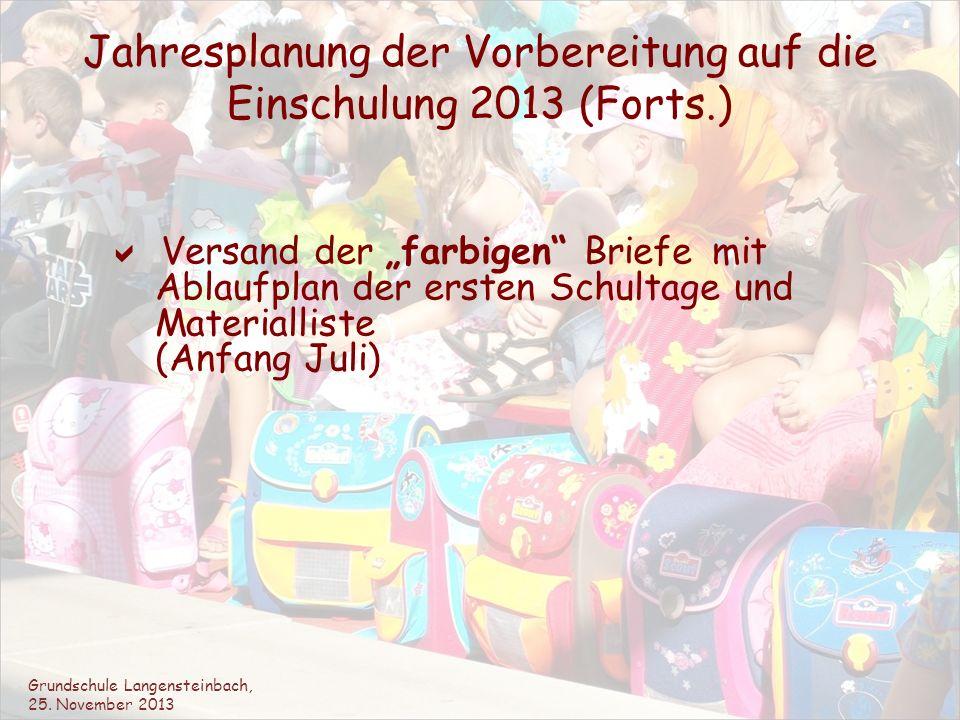 Jahresplanung der Vorbereitung auf die Einschulung 2013 (Forts.) Versand der farbigen Briefe mit Ablaufplan der ersten Schultage und Materialliste (An