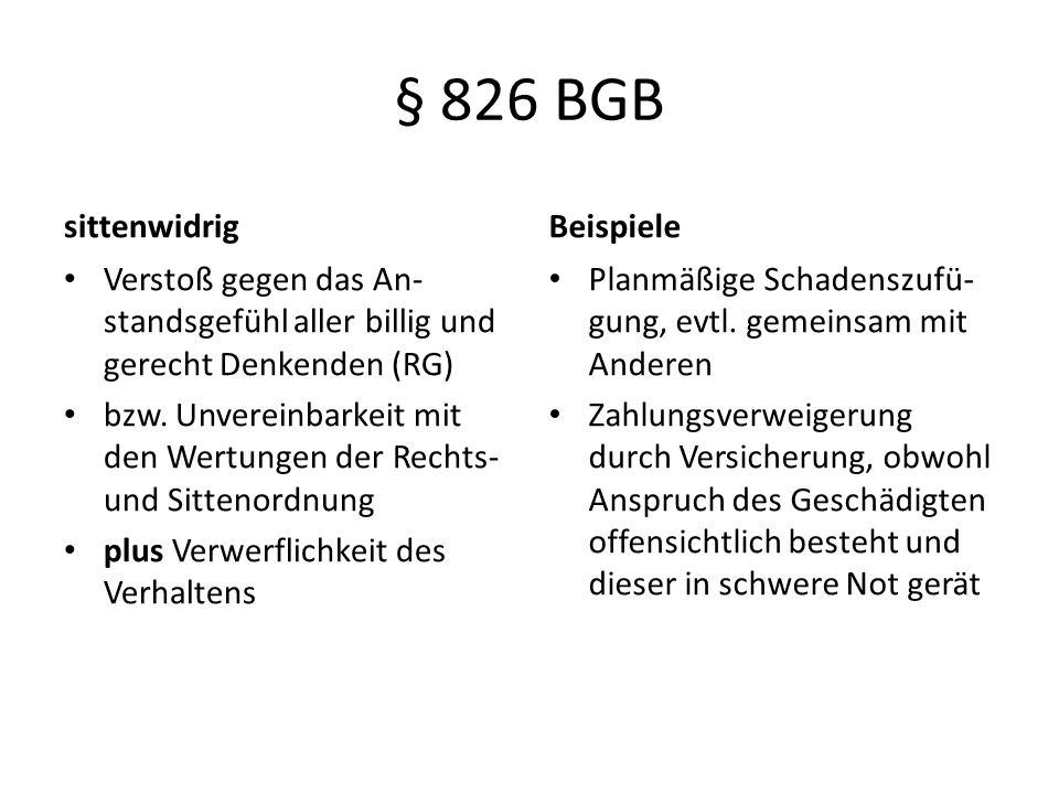 § 826 BGB sittenwidrig Verstoß gegen das An- standsgefühl aller billig und gerecht Denkenden (RG) bzw. Unvereinbarkeit mit den Wertungen der Rechts- u