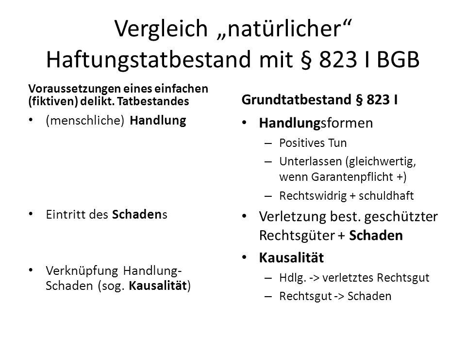 Vergleich natürlicher Haftungstatbestand mit § 823 I BGB Voraussetzungen eines einfachen (fiktiven) delikt. Tatbestandes (menschliche) Handlung Eintri