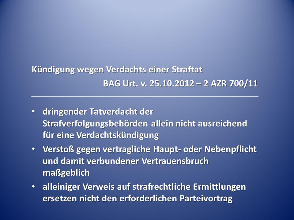 Kündigung wegen Verdachts einer Straftat BAG Urt.v.