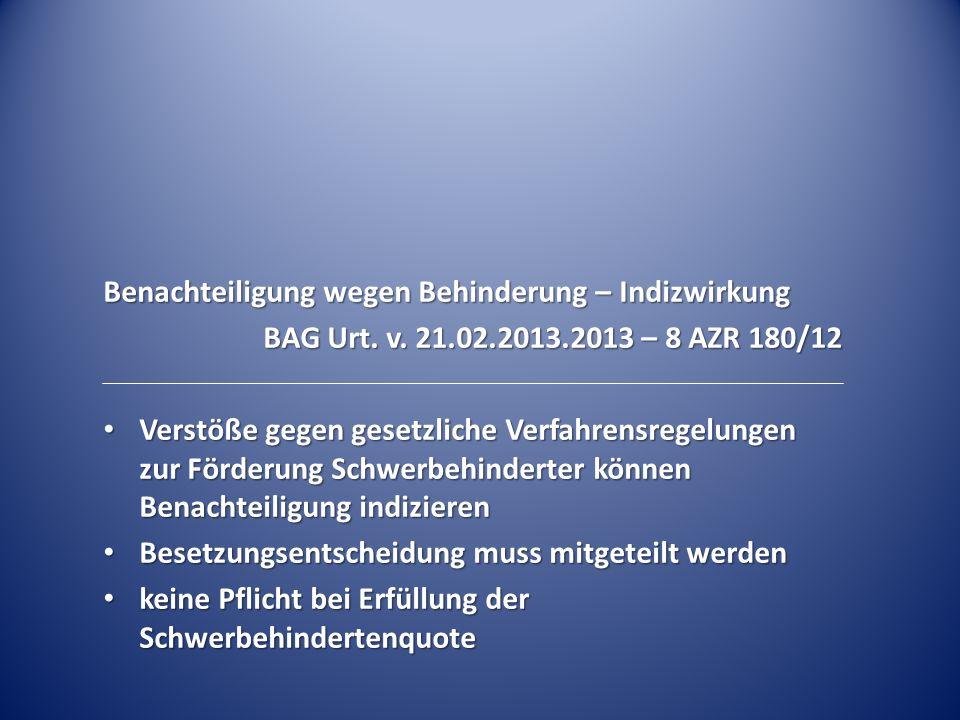 Benachteiligung wegen Behinderung – Indizwirkung BAG Urt.