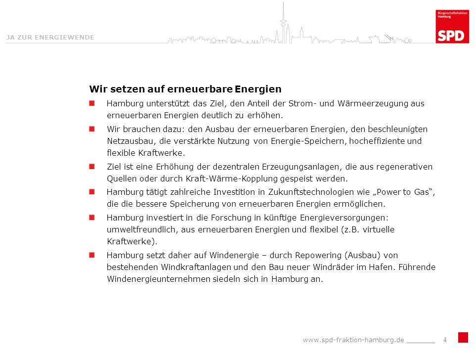 JA ZUR ENERGIEWENDE Wir setzen auf erneuerbare Energien Hamburg unterstützt das Ziel, den Anteil der Strom- und Wärmeerzeugung aus erneuerbaren Energien deutlich zu erhöhen.