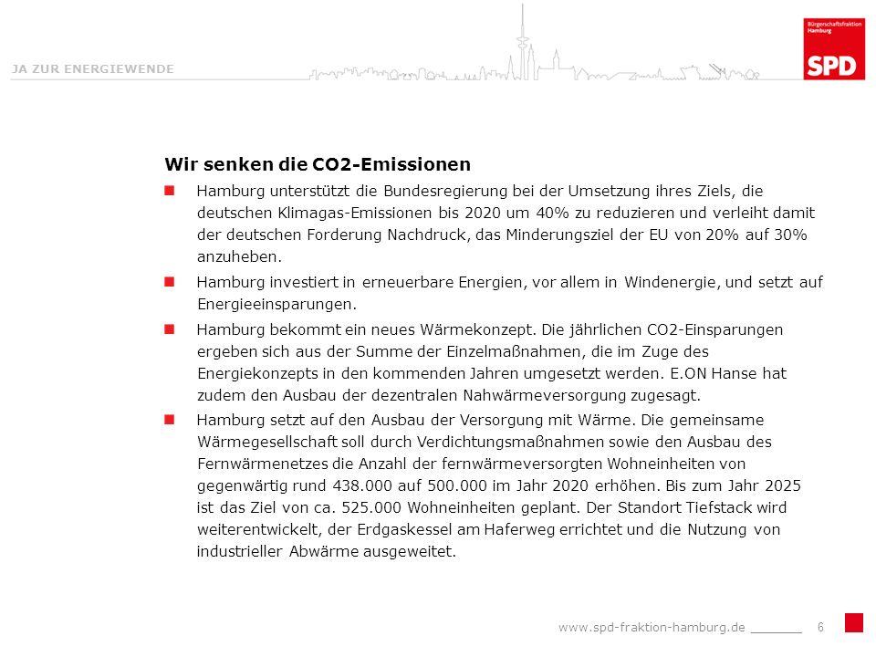 JA ZUR ENERGIEWENDE Wir senken die CO2-Emissionen Hamburg unterstützt die Bundesregierung bei der Umsetzung ihres Ziels, die deutschen Klimagas-Emissionen bis 2020 um 40% zu reduzieren und verleiht damit der deutschen Forderung Nachdruck, das Minderungsziel der EU von 20% auf 30% anzuheben.