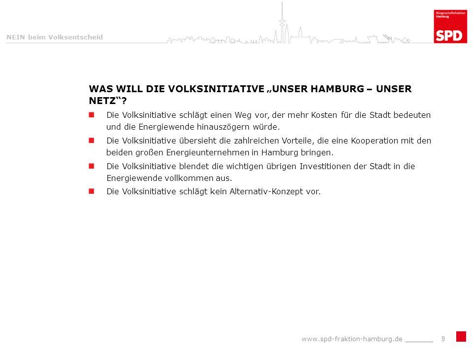 NEIN beim Volksentscheid WAS WILL DIE VOLKSINITIATIVE UNSER HAMBURG – UNSER NETZ.
