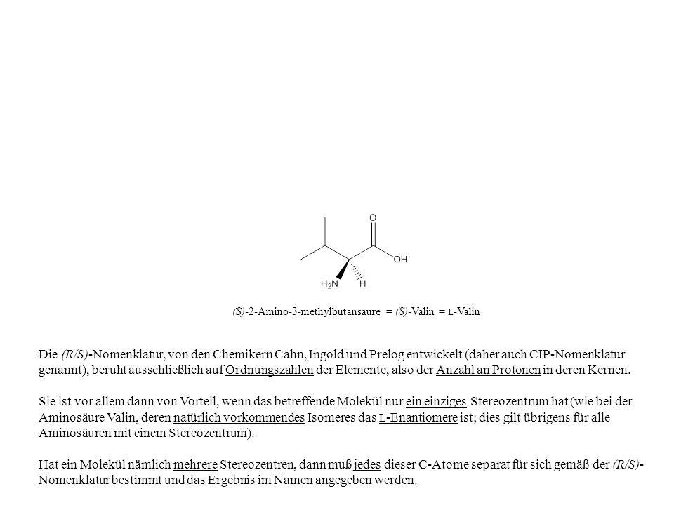 Die (R/S)-Nomenklatur, von den Chemikern Cahn, Ingold und Prelog entwickelt (daher auch CIP-Nomenklatur genannt), beruht ausschließlich auf Ordnungsza