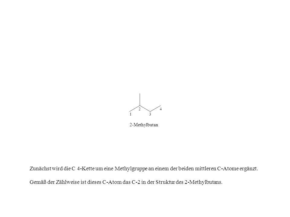 Zunächst wird die C 4-Kette um eine Methylgruppe an einem der beiden mittleren C-Atome ergänzt. Gemäß der Zählweise ist dieses C-Atom das C-2 in der S