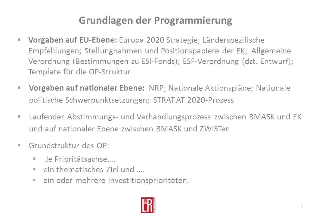Grundlagen der Programmierung Vorgaben auf EU-Ebene: Europa 2020 Strategie; Länderspezifische Empfehlungen; Stellungnahmen und Positionspapiere der EK; Allgemeine Verordnung (Bestimmungen zu ESI-Fonds); ESF-Verordnung (dzt.