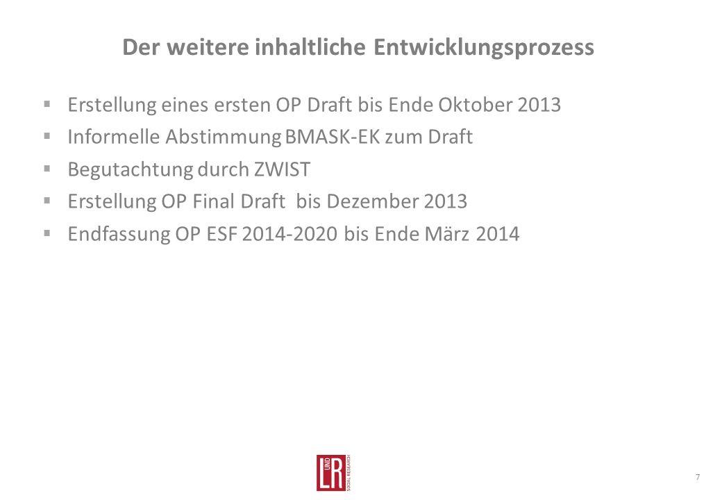 Der weitere inhaltliche Entwicklungsprozess 7 Erstellung eines ersten OP Draft bis Ende Oktober 2013 Informelle Abstimmung BMASK-EK zum Draft Begutachtung durch ZWIST Erstellung OP Final Draft bis Dezember 2013 Endfassung OP ESF 2014-2020 bis Ende März 2014