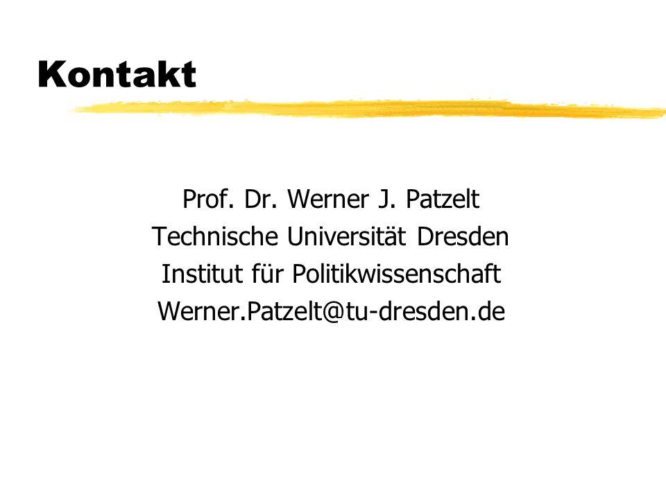 Kontakt Prof. Dr. Werner J. Patzelt Technische Universität Dresden Institut für Politikwissenschaft Werner.Patzelt@tu-dresden.de
