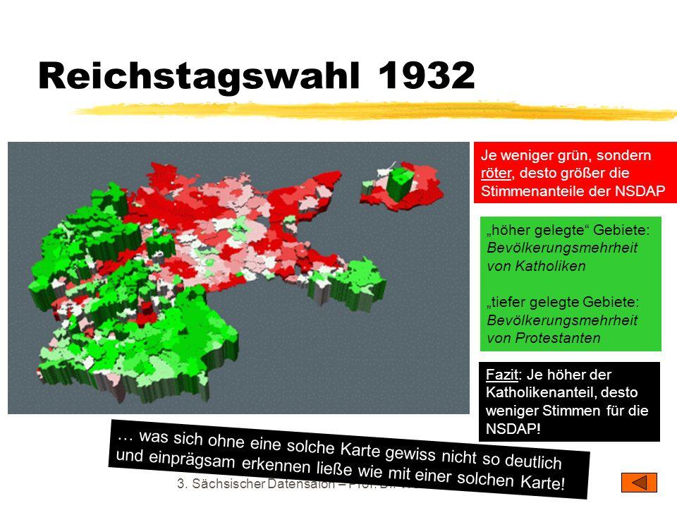 Reichstagswahl 1932 3. Sächsischer Datensalon – Prof. Dr. Werner J. Patzelt Je weniger grün, sondern röter, desto größer die Stimmenanteile der NSDAP