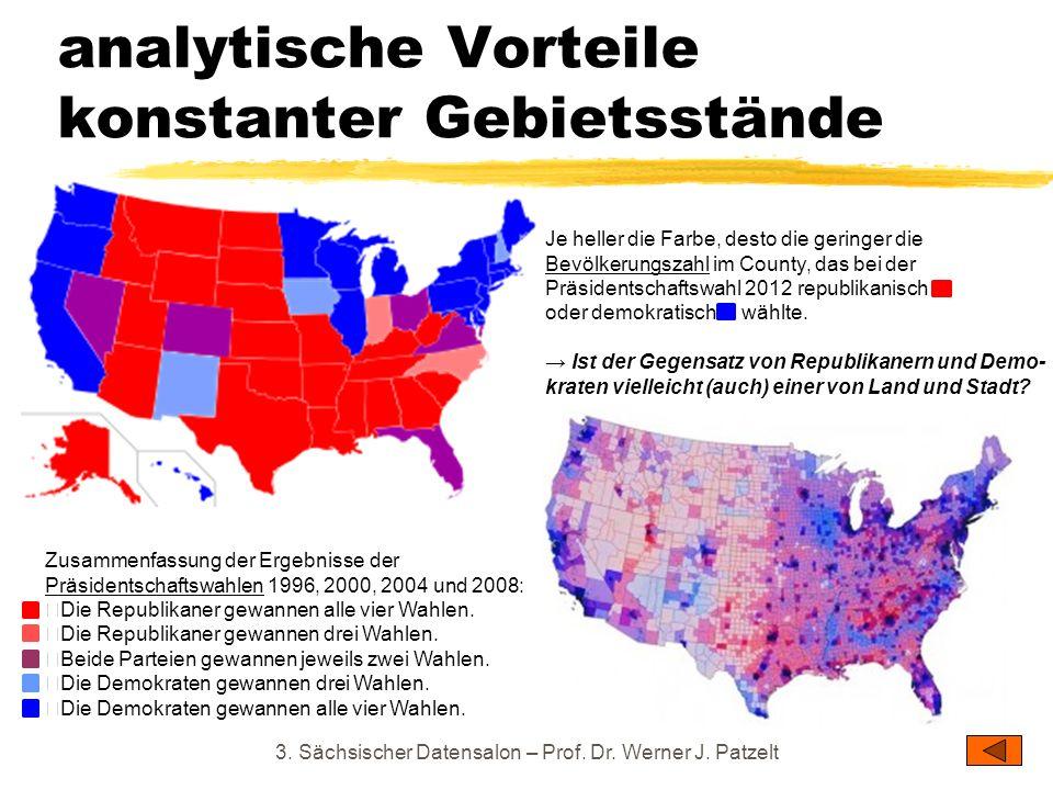 analytische Vorteile konstanter Gebietsstände 3. Sächsischer Datensalon – Prof. Dr. Werner J. Patzelt Zusammenfassung der Ergebnisse der Präsidentscha
