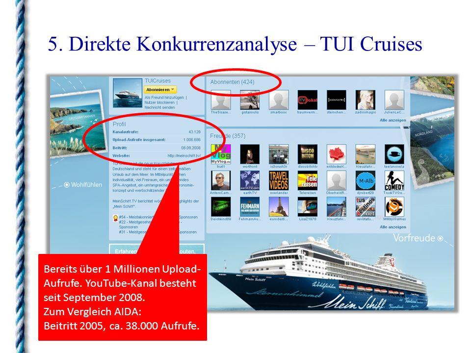 5. Direkte Konkurrenzanalyse – TUI Cruises Bereits über 1 Millionen Upload- Aufrufe. YouTube-Kanal besteht seit September 2008. Zum Vergleich AIDA: Be