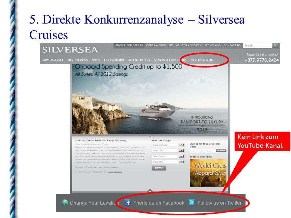 5. Direkte Konkurrenzanalyse – Silversea Cruises Kein Link zum YouTube-Kanal.