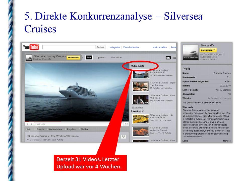 5. Direkte Konkurrenzanalyse – Silversea Cruises Derzeit 31 Videos. Letzter Upload war vor 4 Wochen.