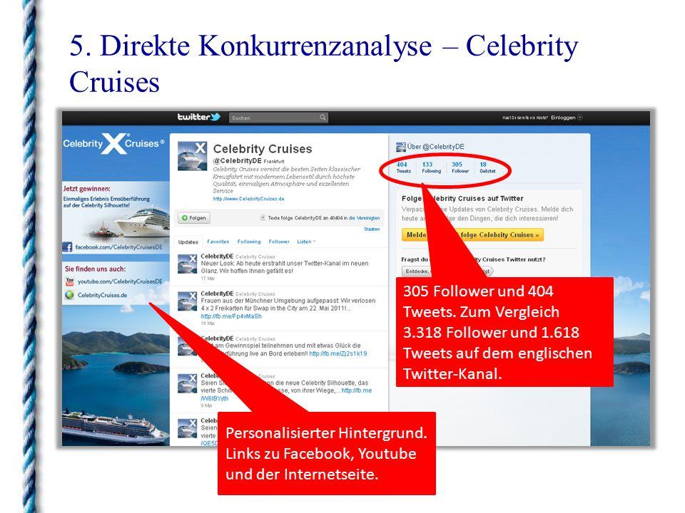 5. Direkte Konkurrenzanalyse – Celebrity Cruises 305 Follower und 404 Tweets. Zum Vergleich 3.318 Follower und 1.618 Tweets auf dem englischen Twitter