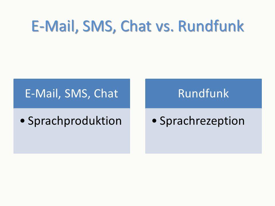 E-Mail, SMS, Chat vs. Rundfunk E-Mail, SMS, Chat Sprachproduktion Rundfunk Sprachrezeption
