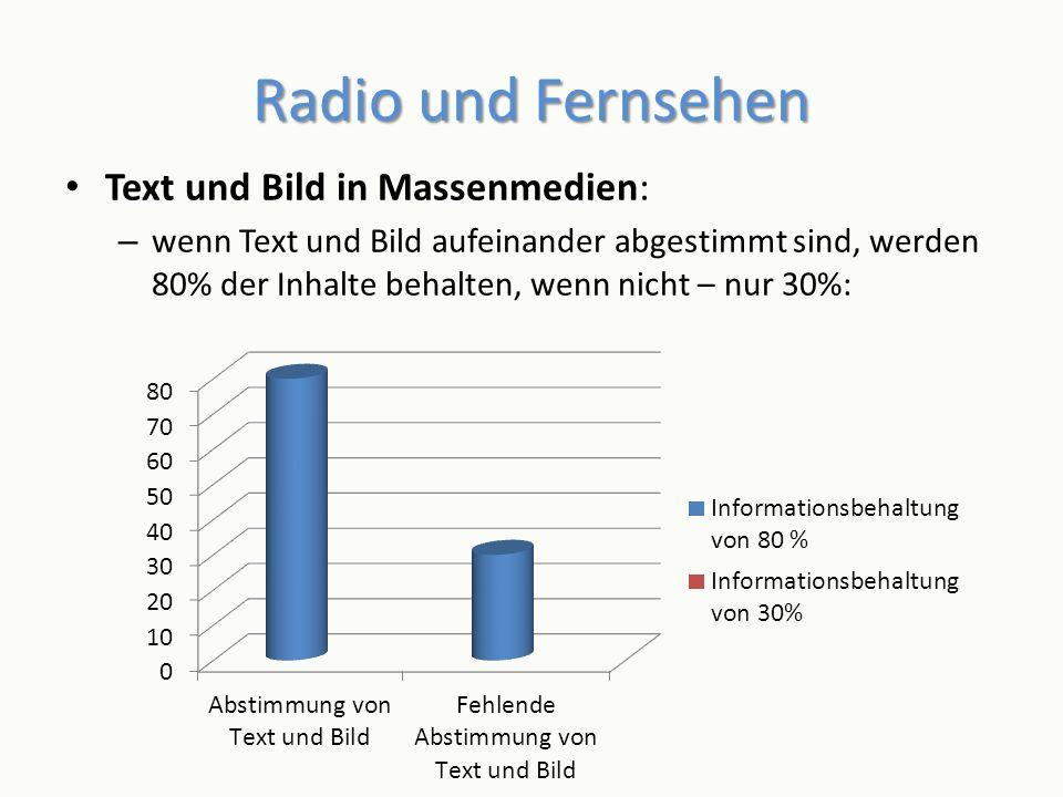 Radio und Fernsehen Text und Bild in Massenmedien: – wenn Text und Bild aufeinander abgestimmt sind, werden 80% der Inhalte behalten, wenn nicht – nur