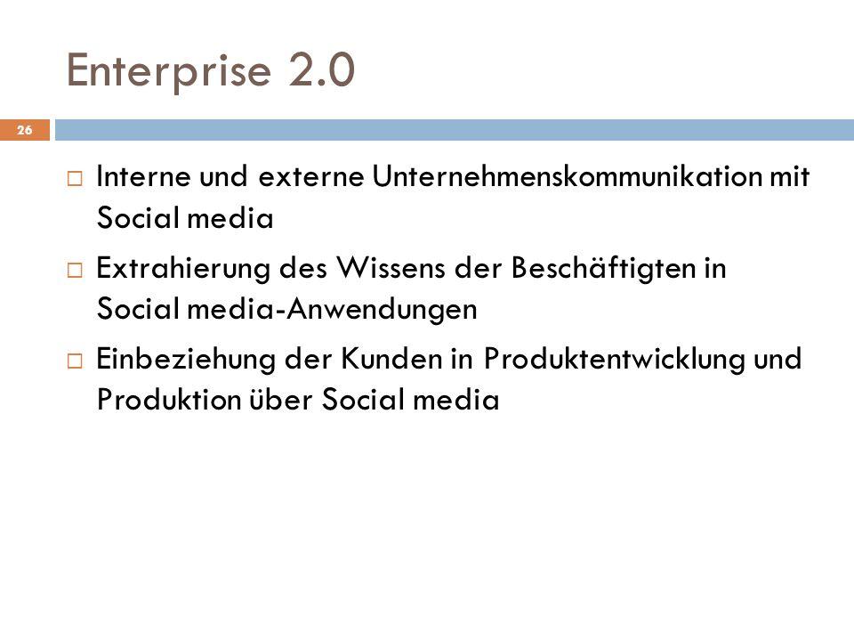 Enterprise 2.0 Interne und externe Unternehmenskommunikation mit Social media Extrahierung des Wissens der Beschäftigten in Social media-Anwendungen Einbeziehung der Kunden in Produktentwicklung und Produktion über Social media 26