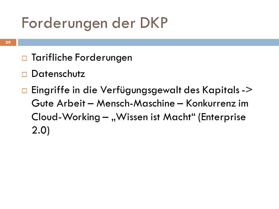 Forderungen der DKP Tarifliche Forderungen Datenschutz Eingriffe in die Verfügungsgewalt des Kapitals -> Gute Arbeit – Mensch-Maschine – Konkurrenz im Cloud-Working – Wissen ist Macht (Enterprise 2.0) 29
