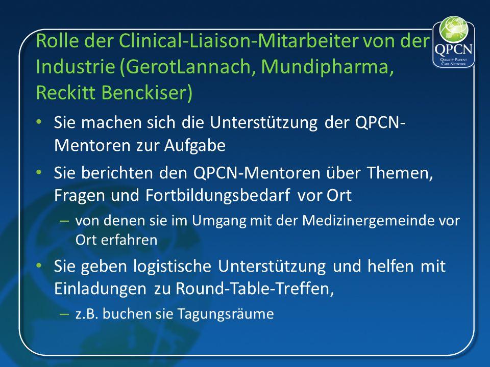 Rolle der Clinical-Liaison-Mitarbeiter von der Industrie (GerotLannach, Mundipharma, Reckitt Benckiser) Sie machen sich die Unterstützung der QPCN- Me