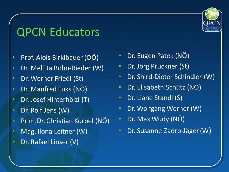 QPCN Educators Prof. Alois Birklbauer (OÖ) Dr. Melitta Bohn-Rieder (W) Dr. Werner Friedl (St) Dr. Manfred Fuks (NÖ) Dr. Josef Hinterhölzl (T) Dr. Rolf