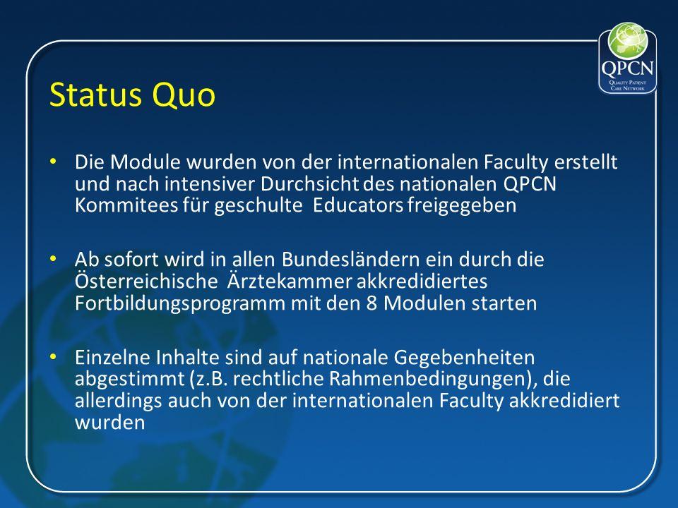 Status Quo Die Module wurden von der internationalen Faculty erstellt und nach intensiver Durchsicht des nationalen QPCN Kommitees für geschulte Educa