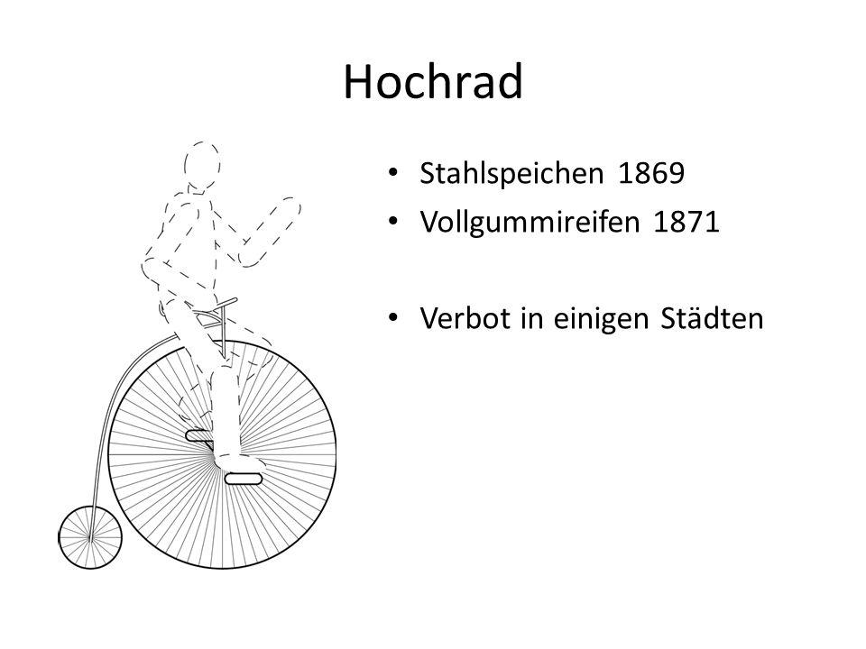 Hochrad Stahlspeichen 1869 Vollgummireifen 1871 Verbot in einigen Städten