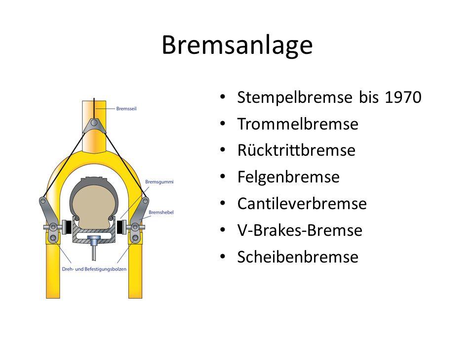 Bremsanlage Stempelbremse bis 1970 Trommelbremse Rücktrittbremse Felgenbremse Cantileverbremse V-Brakes-Bremse Scheibenbremse