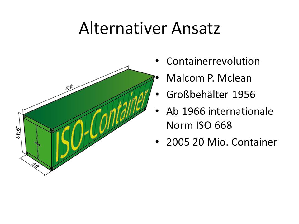 Alternativer Ansatz Containerrevolution Malcom P. Mclean Großbehälter 1956 Ab 1966 internationale Norm ISO 668 2005 20 Mio. Container