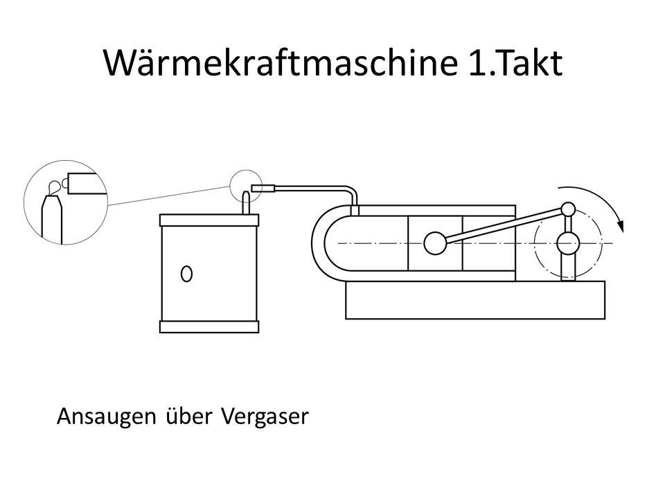 Wärmekraftmaschine 1.Takt Ansaugen über Vergaser