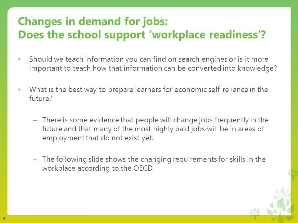 3 Changes in demand for jobs: Does the school support workplace readiness? Should we teach information you can find on search engines or is it more im