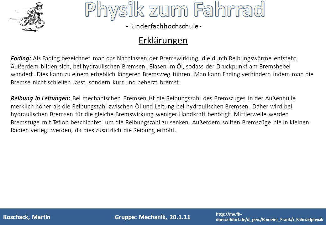 - Kinderfachhochschule - Koschack, MartinGruppe: Mechanik, 20.1.11 Fading: Als Fading bezeichnet man das Nachlassen der Bremswirkung, die durch Reibun